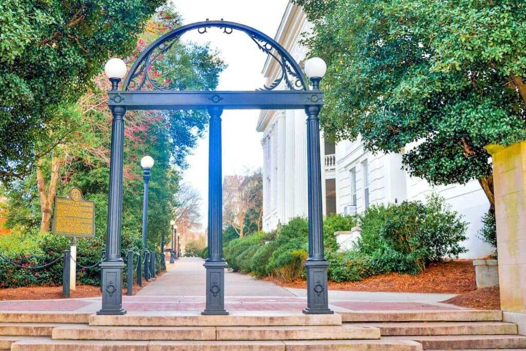 The famous cast iron arch at the University of Georgia in Athens, GA.