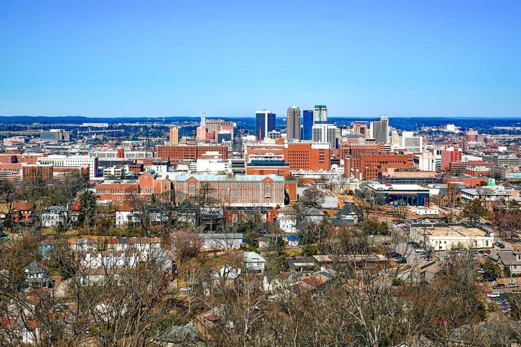 Skyline view of the city of Birmingham, Alabama.