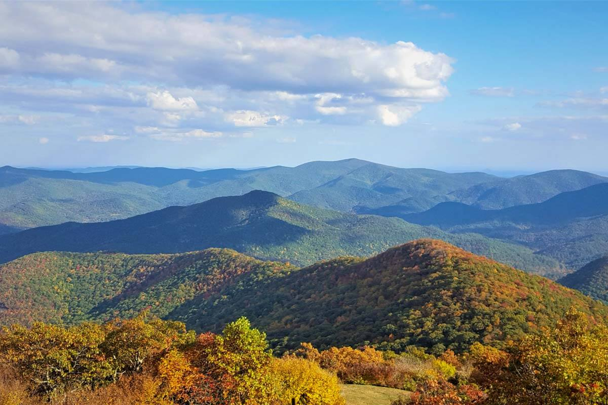 View from the summit at Brasstown Bald on a sunny fall day