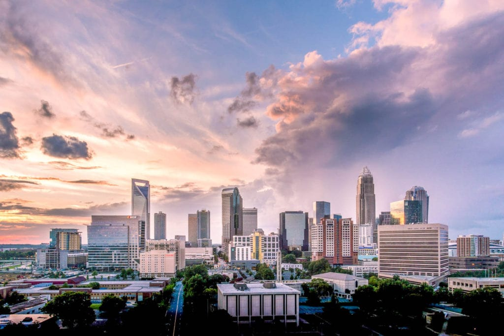 View of the Charlotte, North Carolina city skyline at sunset