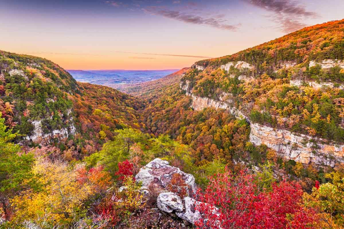 View of Cloudland Canyon State Park in Rising Fawn, GA showing fall foliage