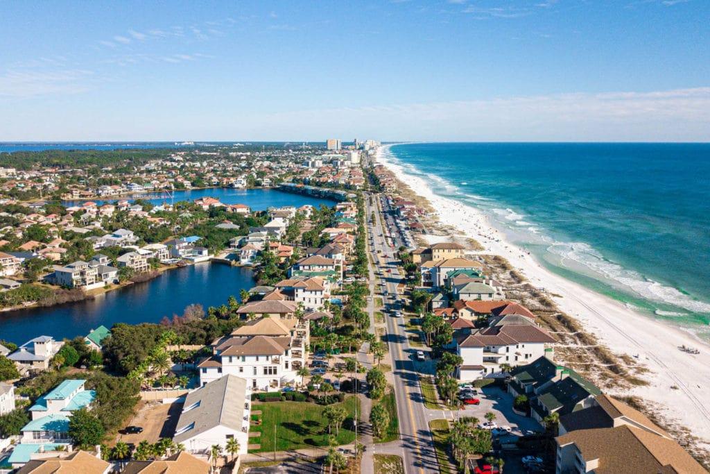 Overhead view of the coastline in Destin, Florida