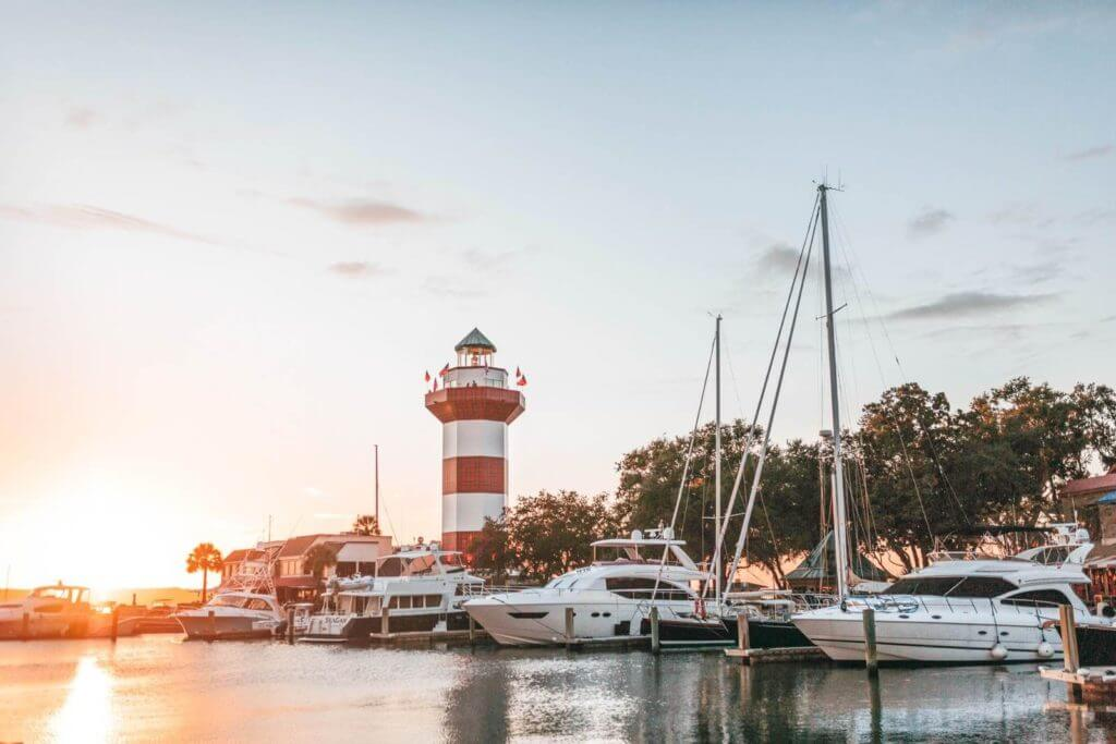 View of the lighthouse and harbor on Hilton Head Island, South Carolina.