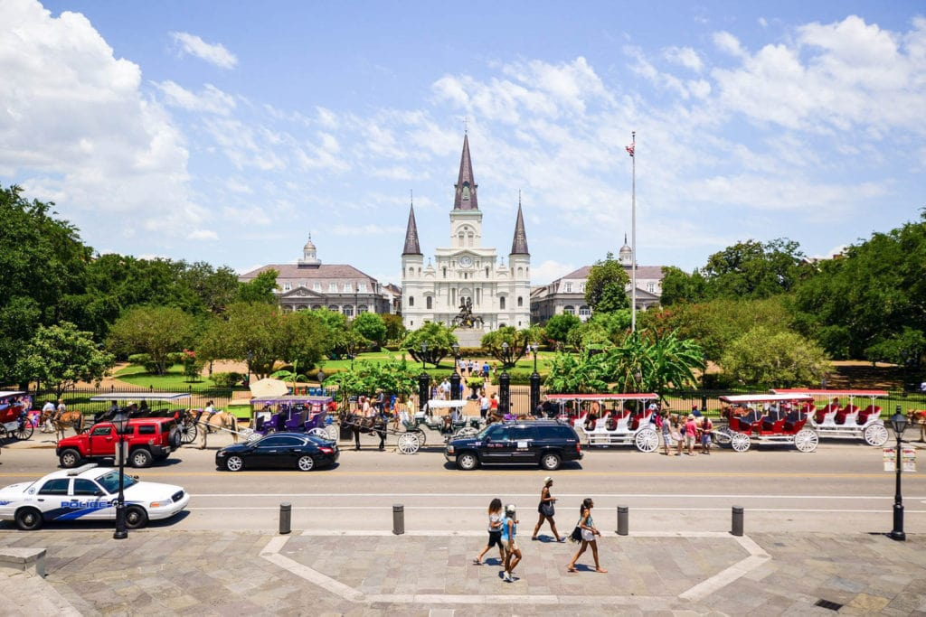 View of Jackson Square in the French Quarter of New Orleans