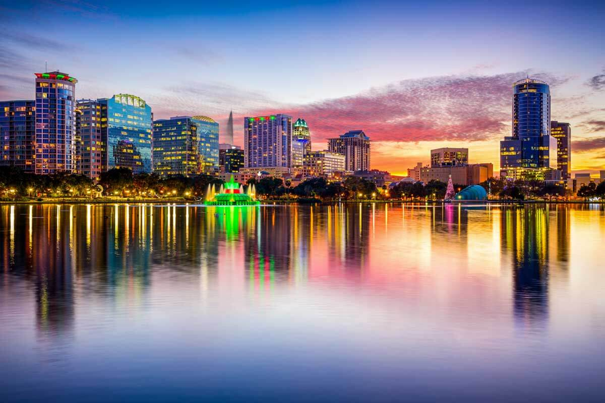 View of the Orlando city skyline in Florida at sunset.