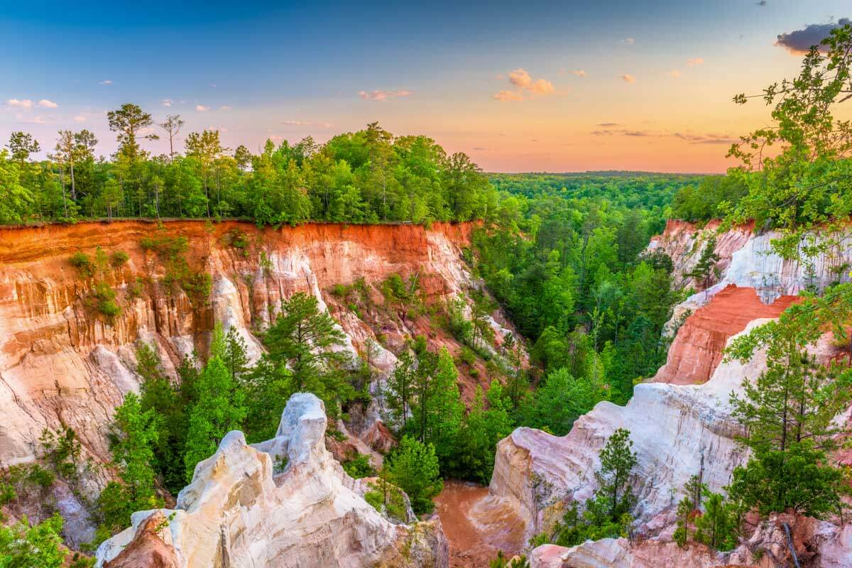 Photo of Providence Canyon State Park at sunset