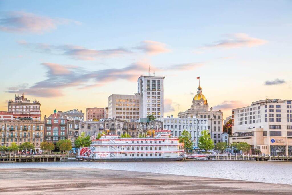 The Savannah, GA city skyline as seen from the river