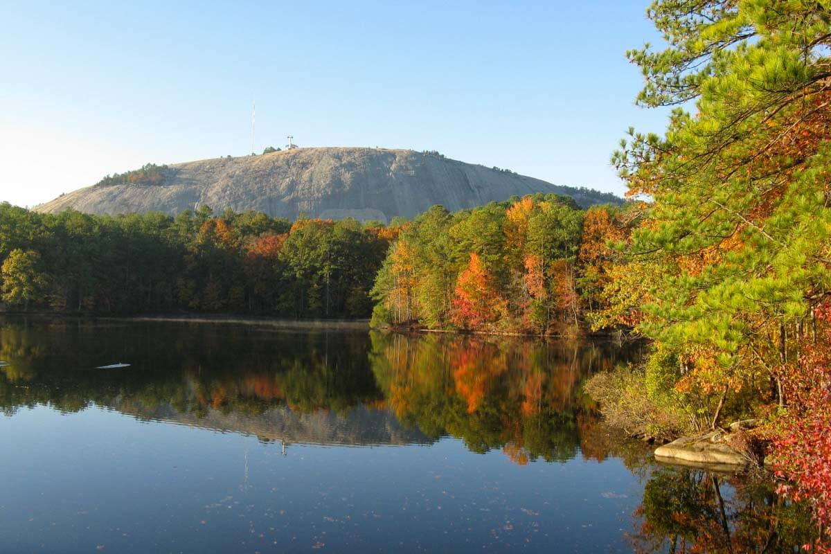 Stone Mountain Park in the fall with fall foliage