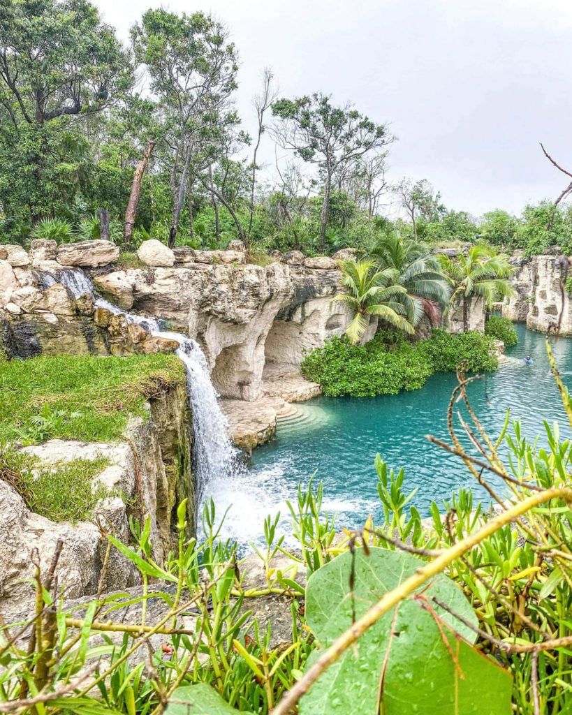 Waterfall on property at Hotel Xcaret Mexico