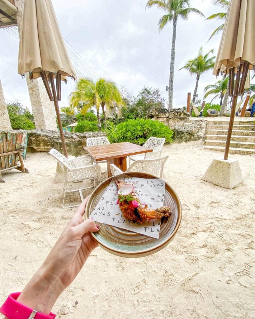 Shrimp appetizer at Las Playas Restaurant at Hotel Xcaret Mexico