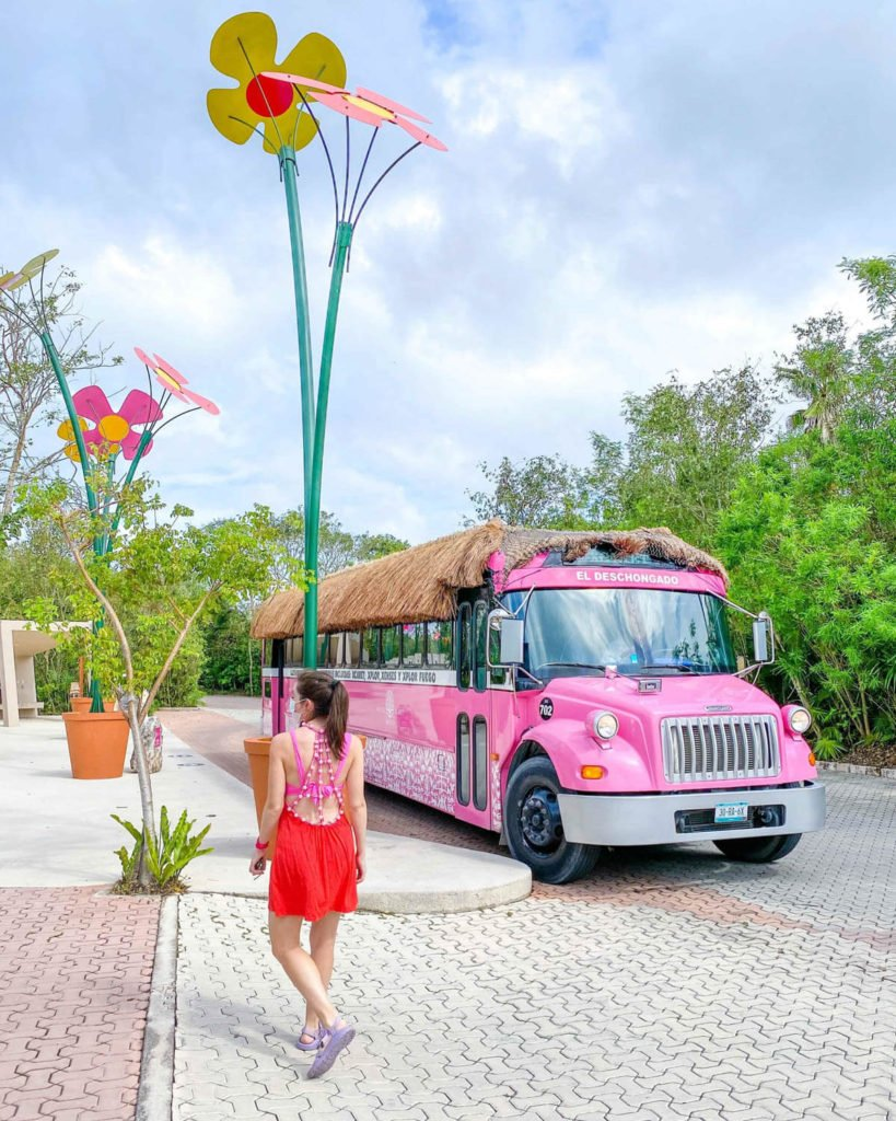 Pink buses transport you from park to park at Hotel Xcaret Mexico