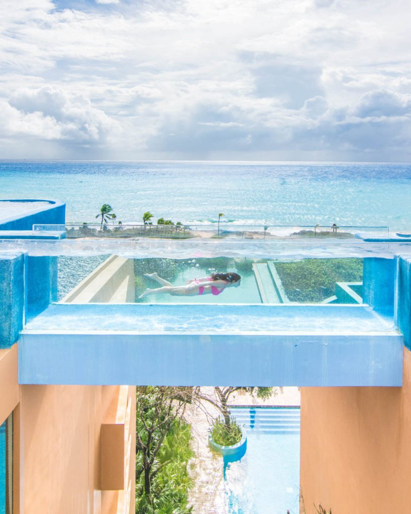 See through pool at Hotel Xcaret Mexico