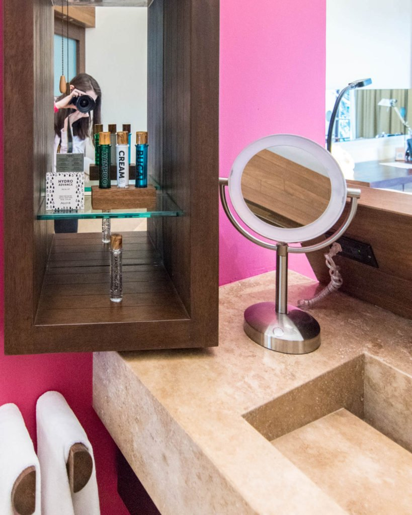 Sink and mirror in the bathroom in Hotel Xcaret Mexico suite