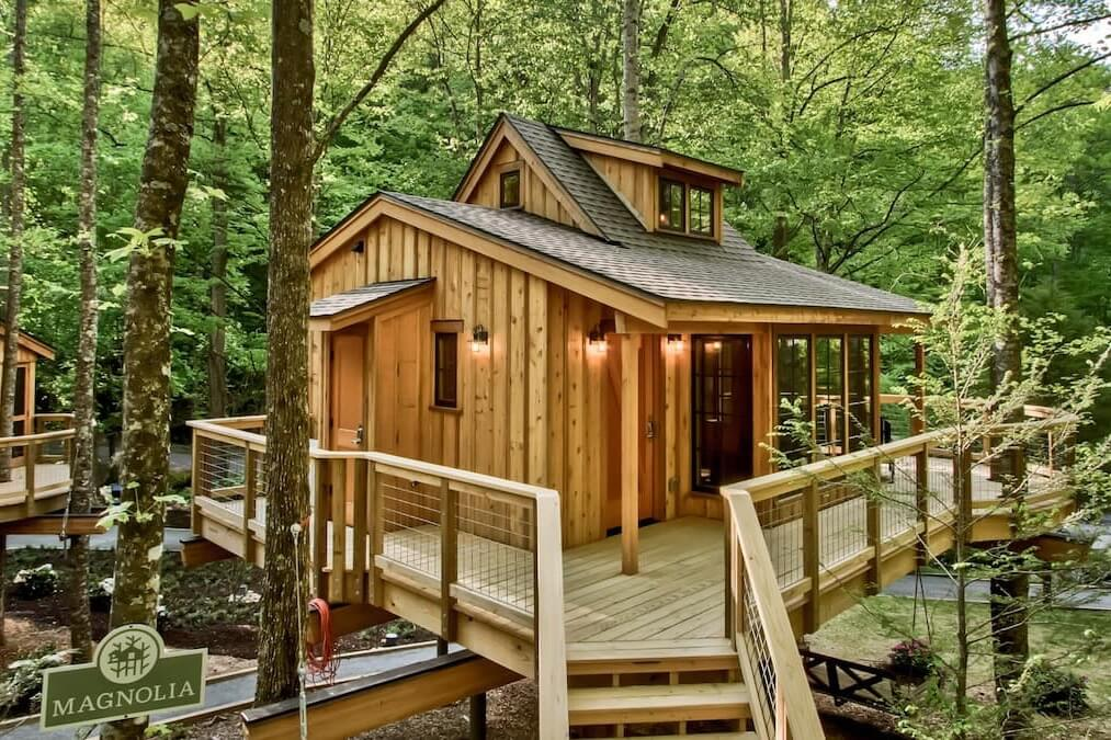 Photo of the walkway to The Magnolia in Treehouse Grove at Norton Creek and its façade