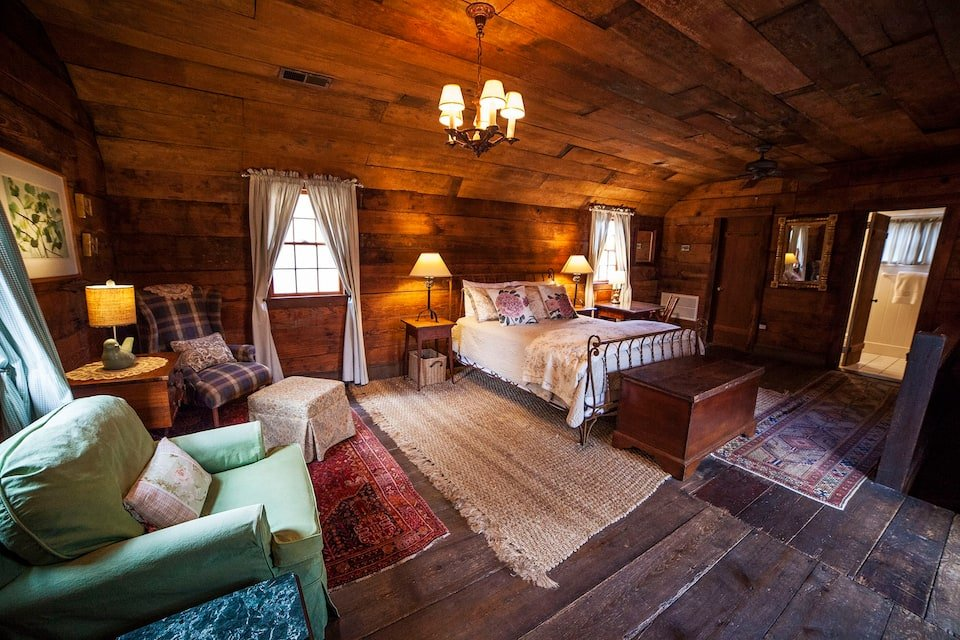 Photo of the bedroom in Laura's Cottage, Redford film spot, historic listing on Airbnb