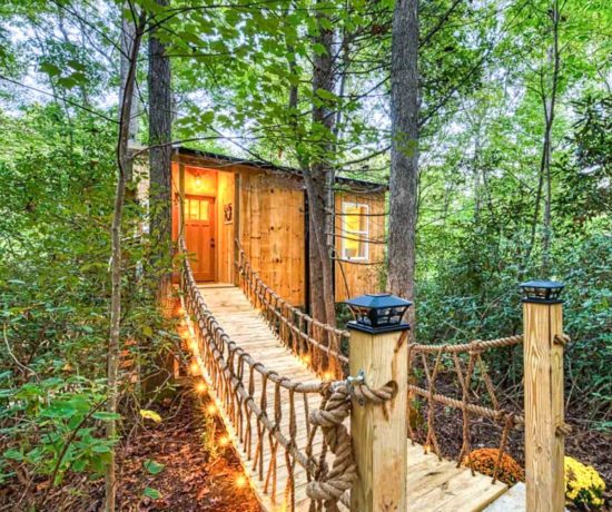 Secluded treehouse with hanging bridge in Old Fort, North Carolina