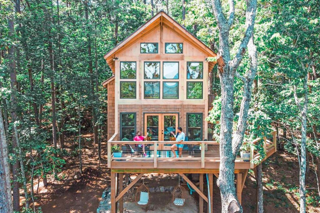 View of the front façade of the Daybreak designer treehouse in Dahlonega