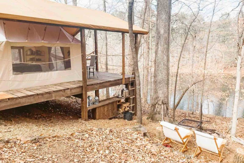 View of the treehouse tent facing the private lake
