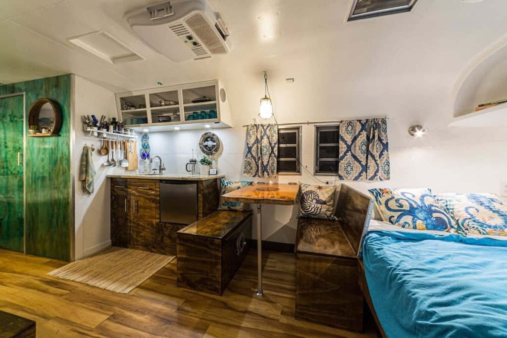 Photo of the inside of the Beach House camper on C.C. Homestead in Atlanta