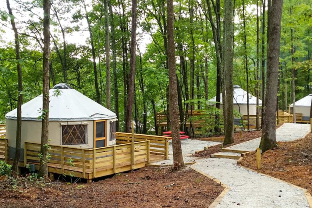 Photo of pathway and yurts at Sweetwater Creek State Park in Lithia Springs, GA