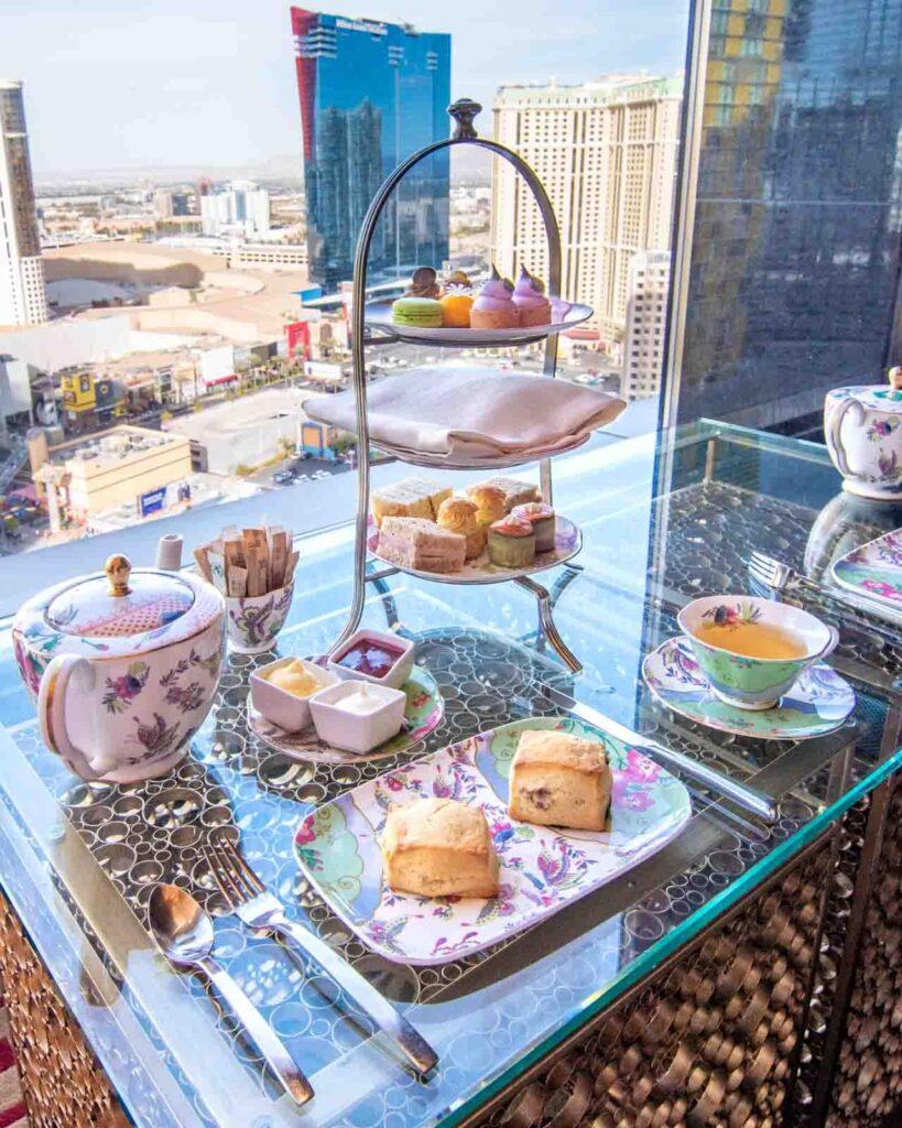 Afternoon tea food at Tea Lounge at Waldorf Astoria Las Vegas