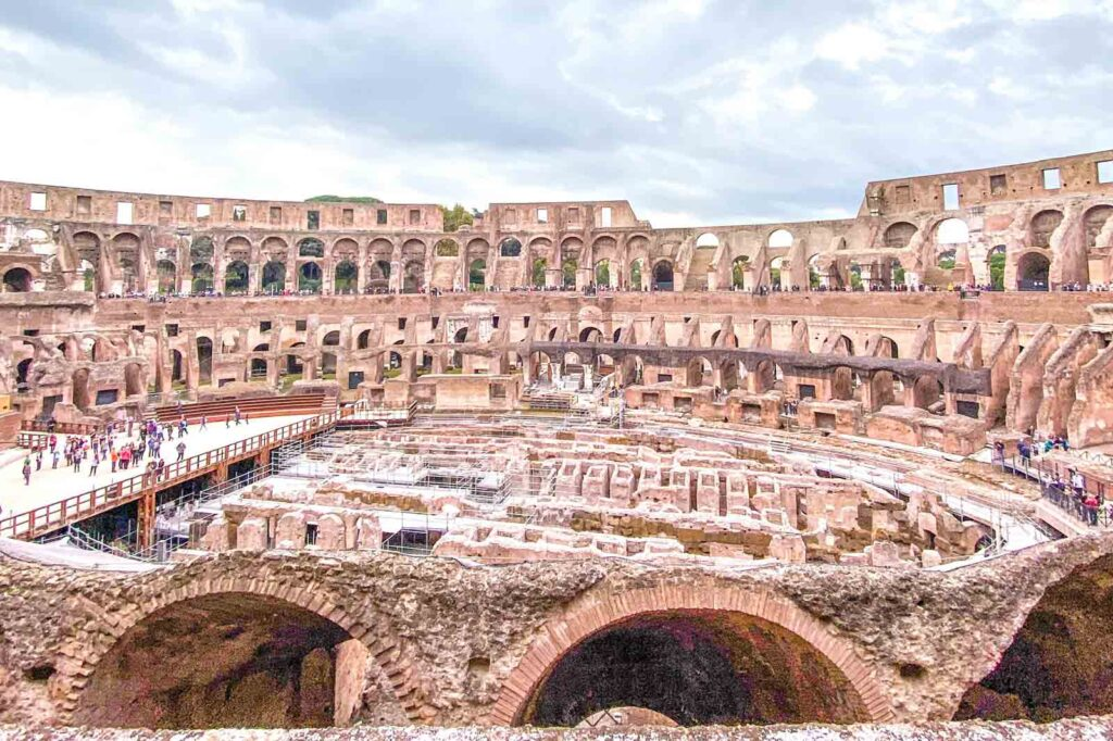 A view of the floor of the Colosseum in Rome, Italy.