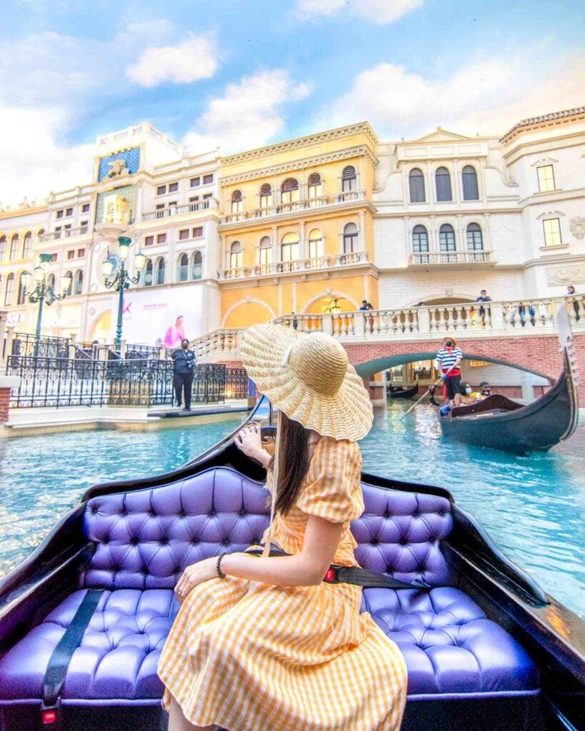 Woman on indoor gondola ride at the Venetian Las Vegas