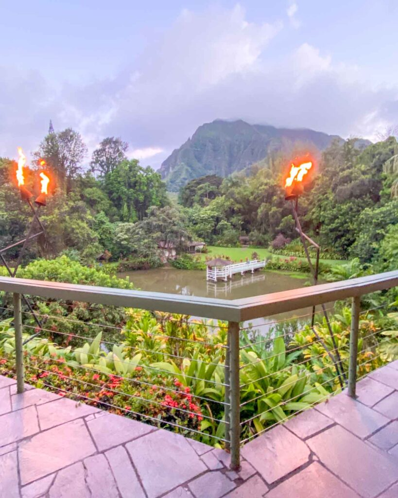View of Haiku Gardens from Haleiwa Joe's restaurant