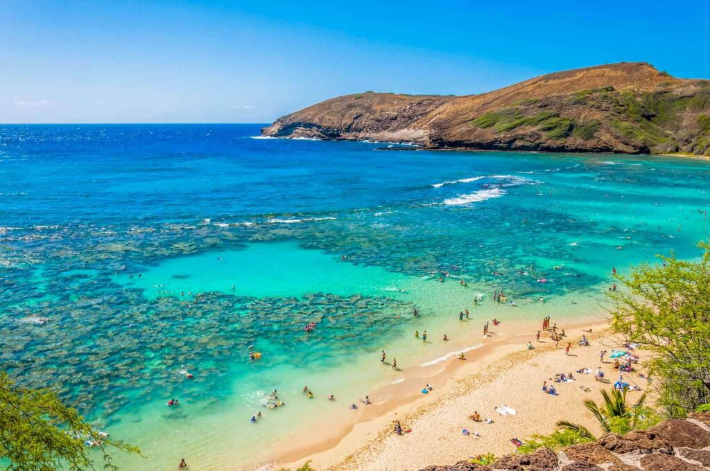 View from above of Hanauma Bay, showing clear water and coral