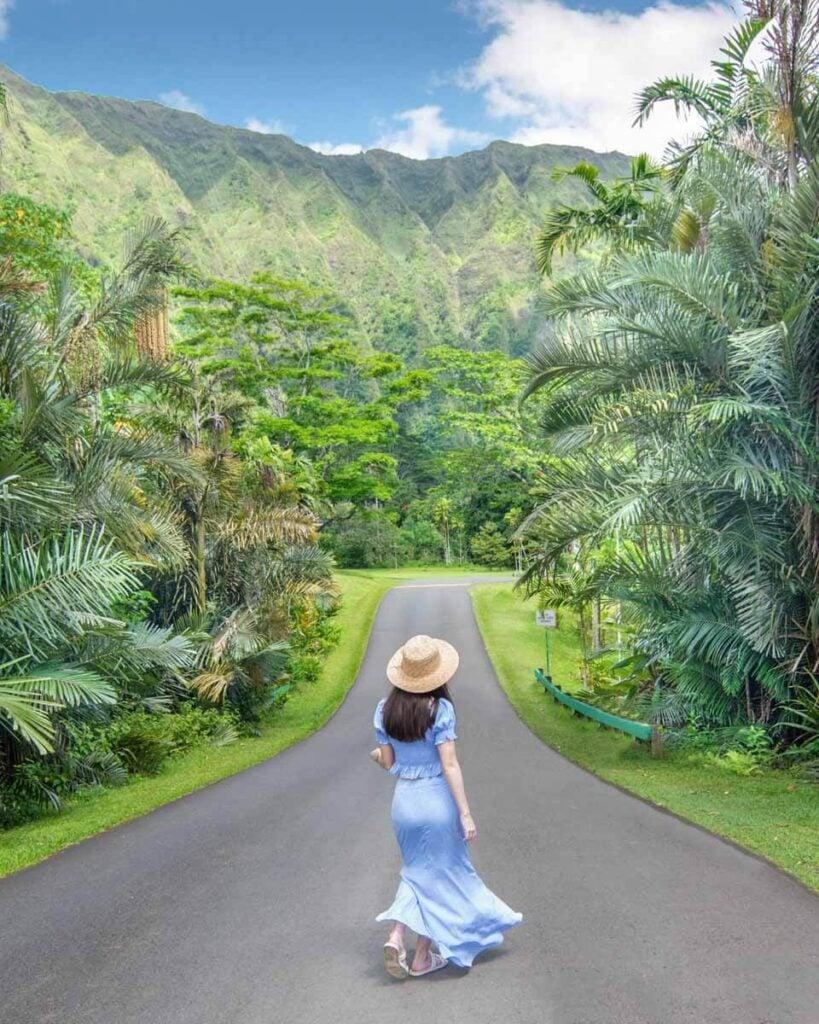 Woman walking in road in Ho'omaluhia Botanical Garden