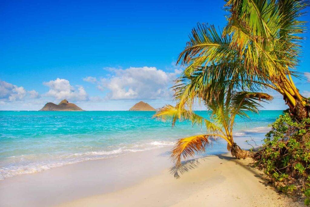 View of Lanikai Beach, the most beautiful beach on Oahu