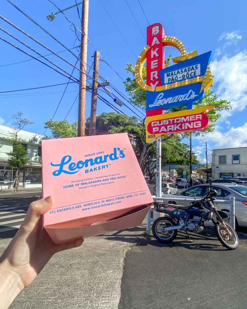 Pink box of malasadas from Leonard's Bakery in Honolulu