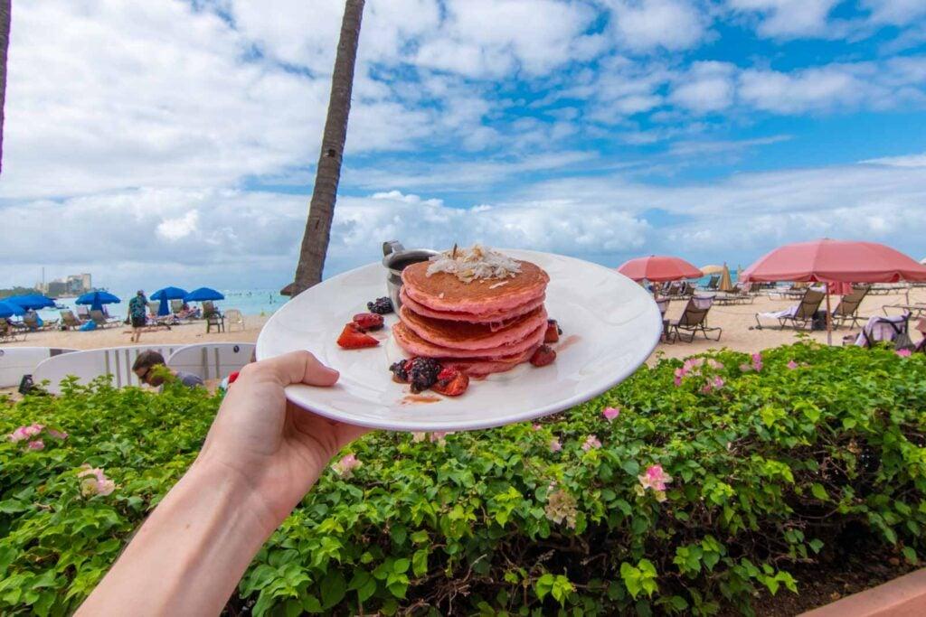 Pink pancakes at the Royal Hawaiian Hotel in Honolulu