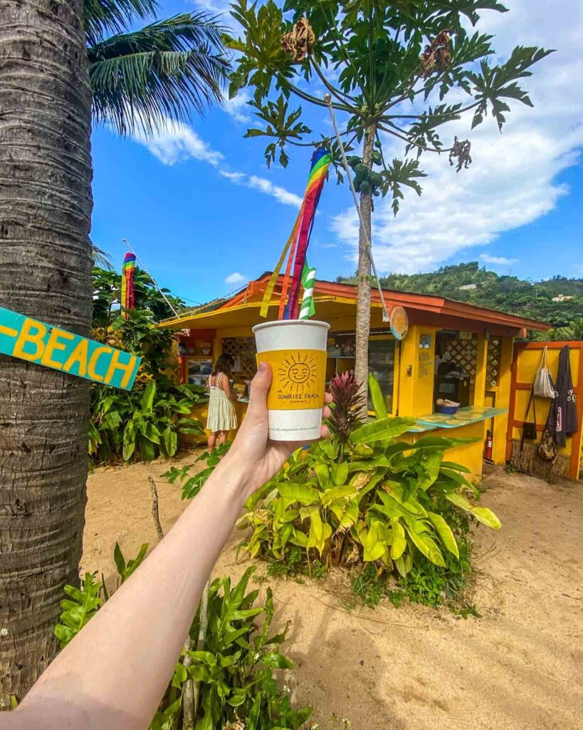 Acai smoothie at Sunrise Shack across from Sunset Beach, North Shore, Oahu