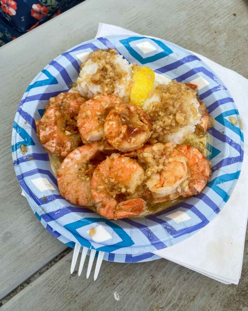 Garlic shrimp on a bed of white rice at Giovanni's Shrimp Truck