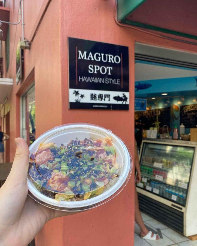 Poke at Maguro Spot in Honolulu, Hawaii