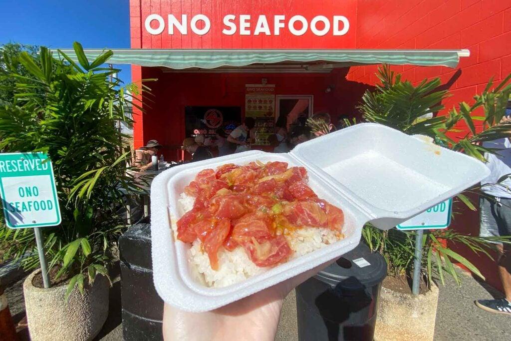 Ahi poke at Ono Seafood in Honolulu, Oahu