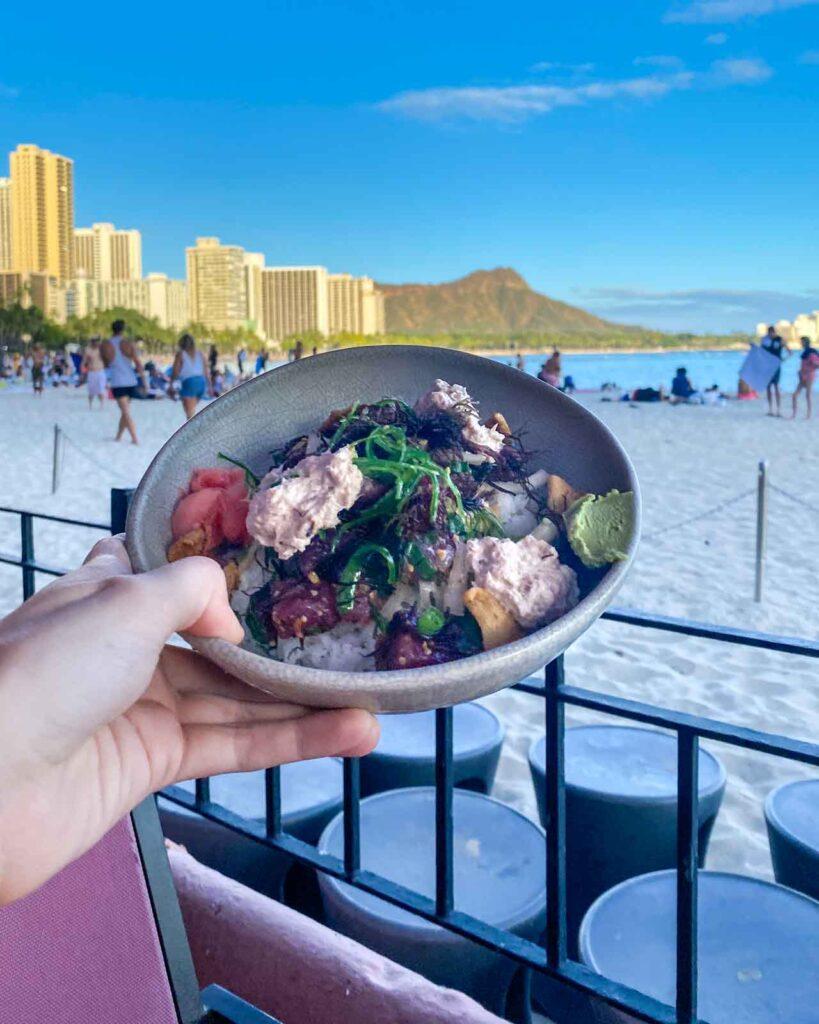 Poke bowl at Mai Tai Bar at the Royal Hawaiian in Honolulu