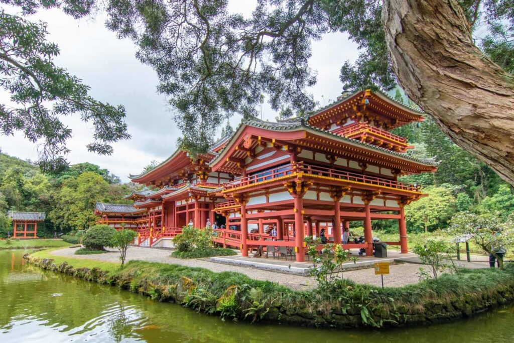 Photo of Byodo-In Temple in Kaneohe and the koi pond surrounding it