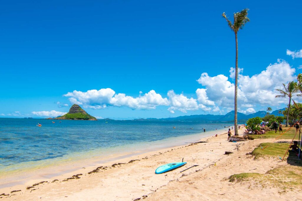 Photo of Kualoa Regional Park in Kaneohe, showing Chinaman's Hat in the distance.