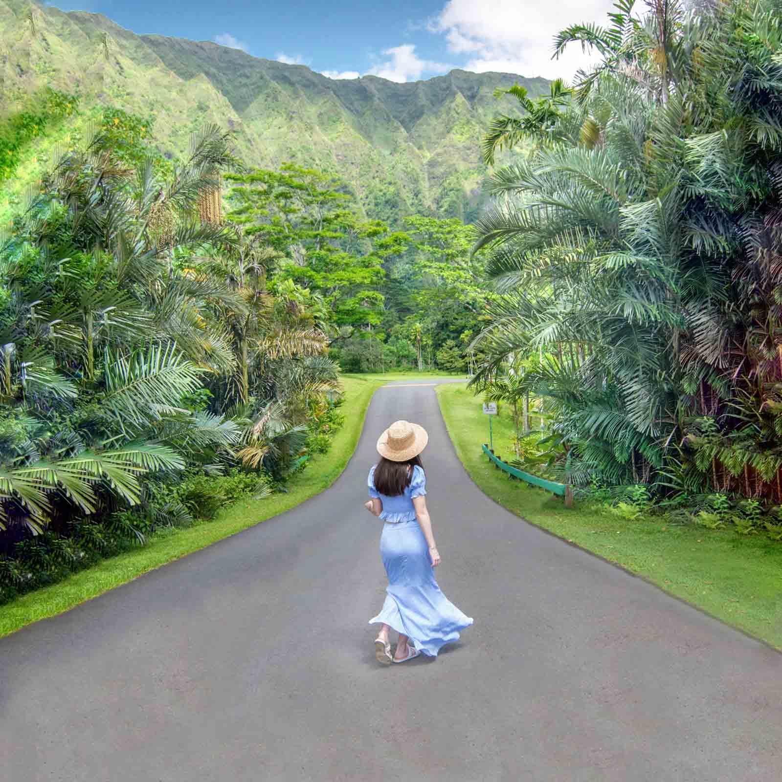 Woman walking through Ho'omaluhia Botanical Garden in Kaneohe, Oahu, Hawaii