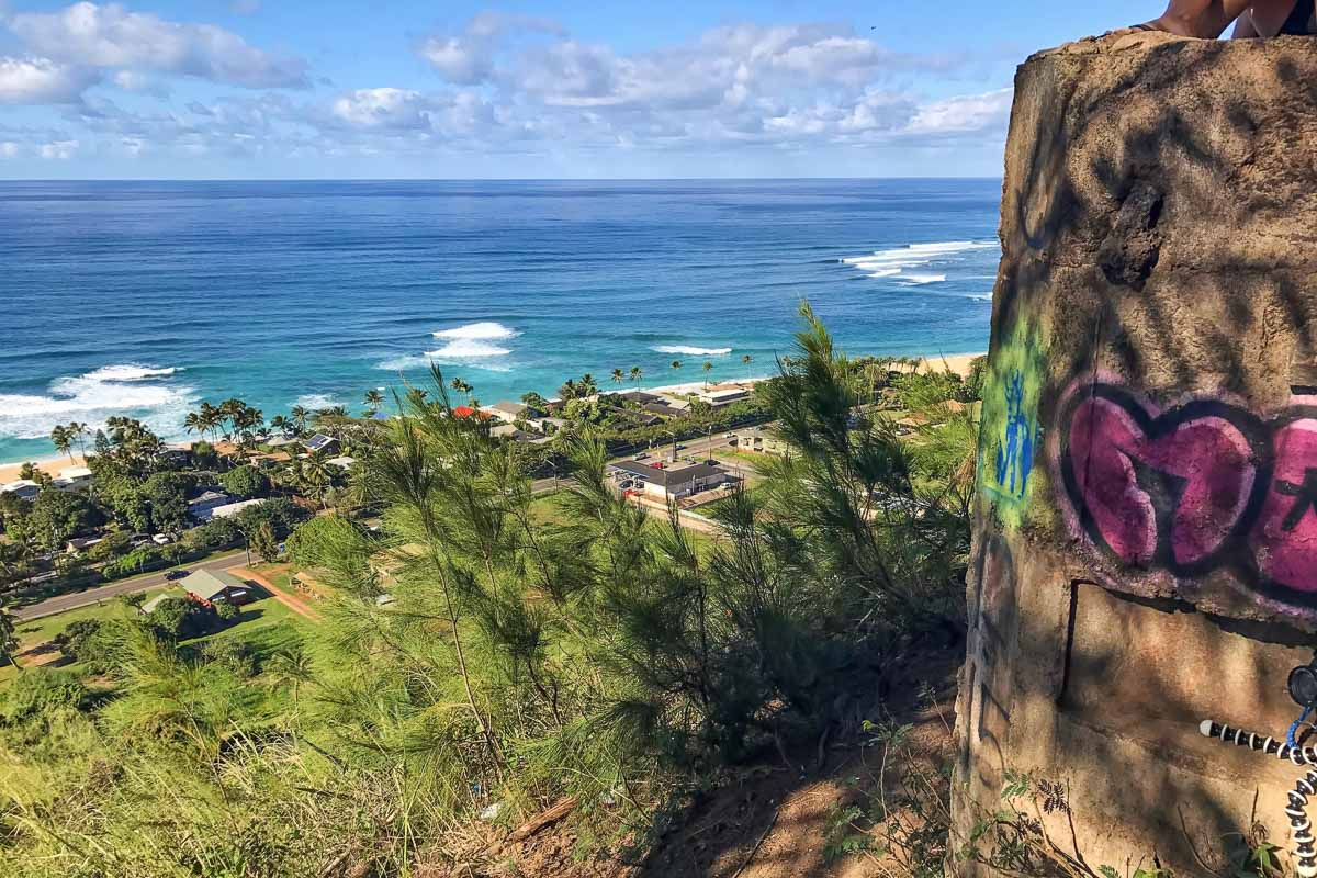 The view from the Ehukai Pillbox Hike, showing the neighborhood below and the Banzai Pipeline from above.