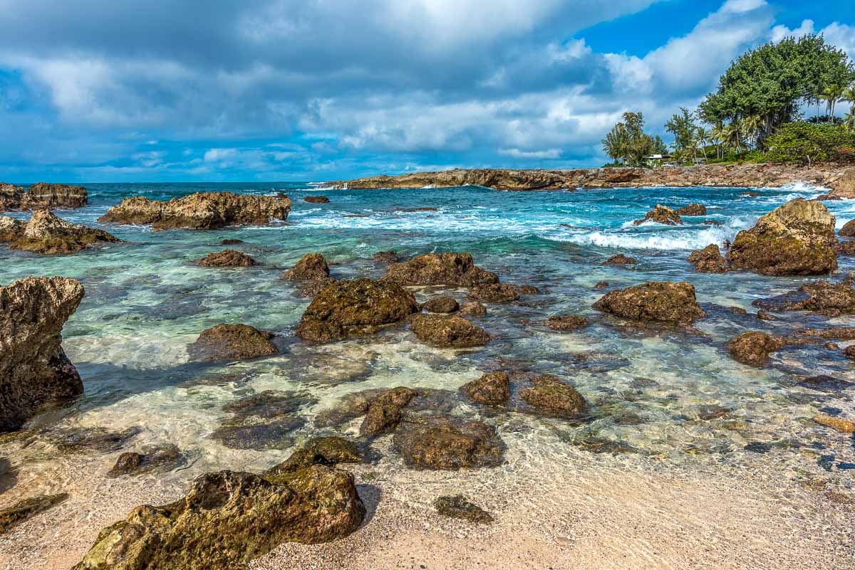 View of the rocks and water at Shark's Cove on the North Shore of Oahu.