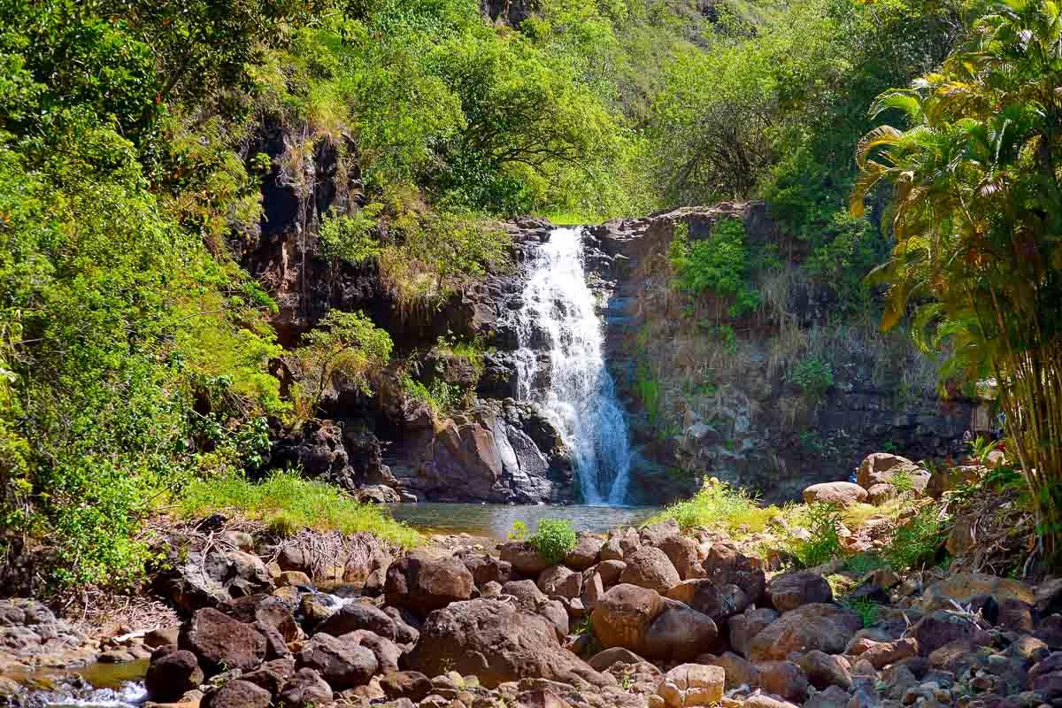 Waimea Falls waterfall at the Waimea Valley Trail.