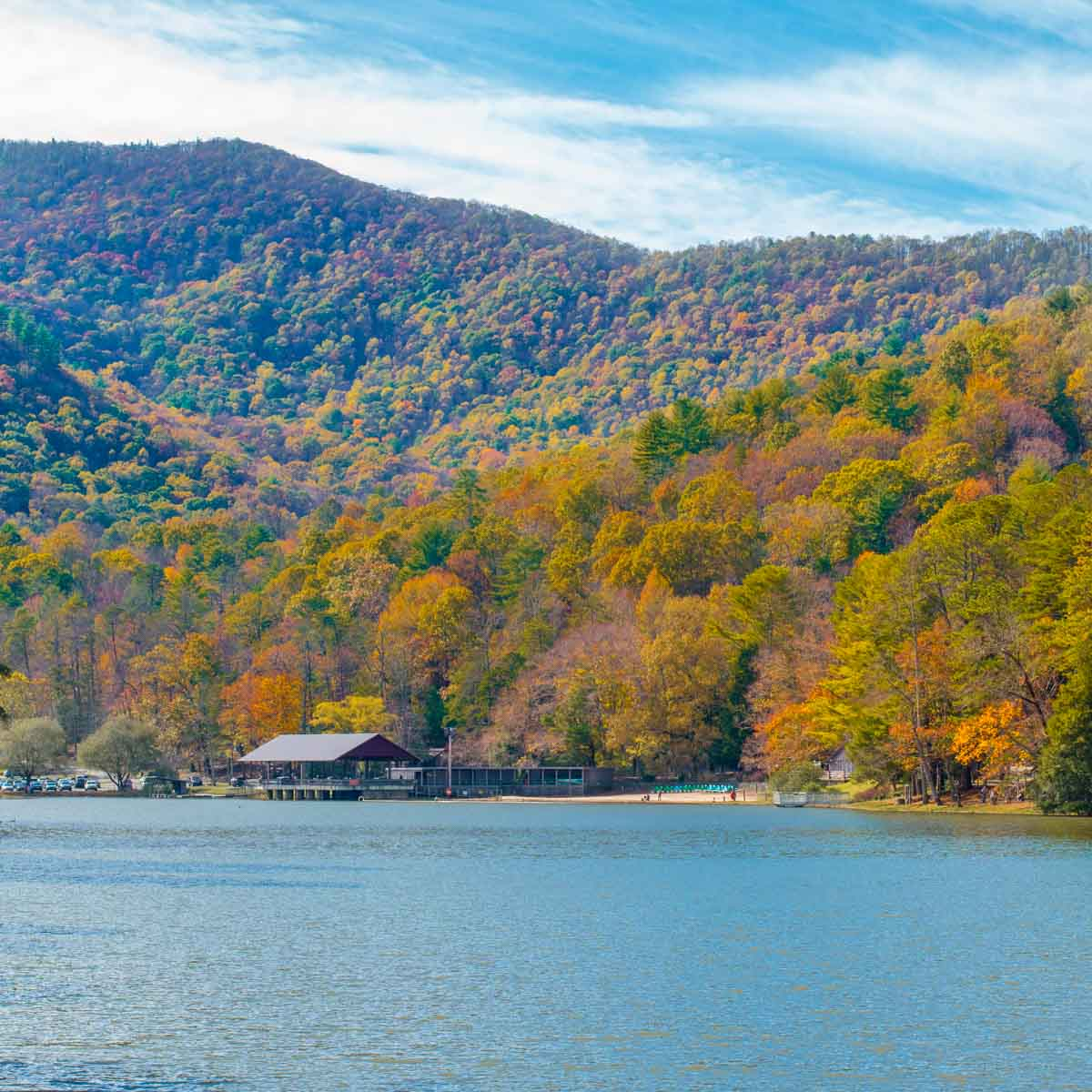 Fall foliage surrounding Lake Trahlyta at Vogel State Park in North Georgia